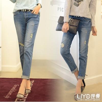 LIYO理優-韓系褲子單寧牛仔長褲-藍