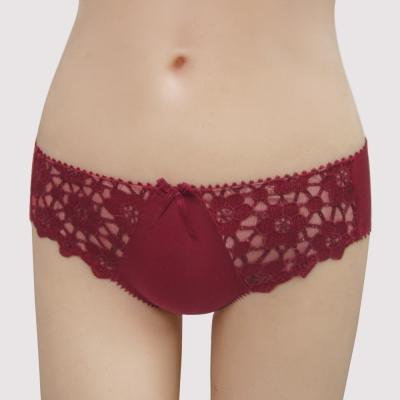 曼黛瑪璉-15AW法式香吻  低腰三角萊克褲(深玫紅)