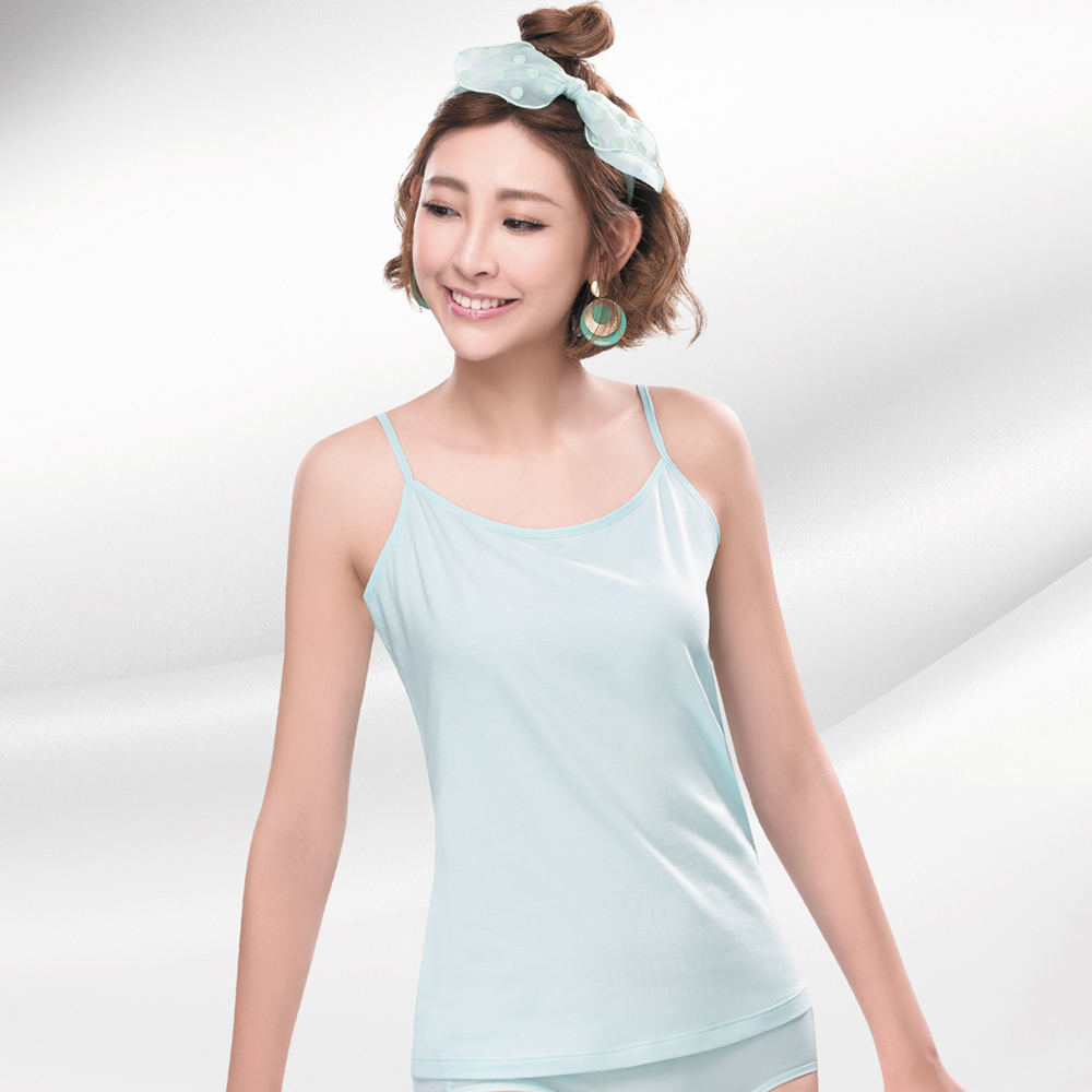 莎薇 天絲A100系列 M-LL 細肩帶背心款蘭姿(淺藍)