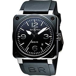 Bell & Ross Aviation 軍事飛行陶瓷機械腕錶-黑x銀時標/42mm