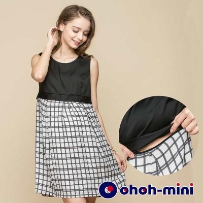 ohoh-mini 孕婦裝 高腰剪接格紋無袖孕哺洋裝