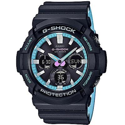 G-SHOCK 卡西歐霓虹藍調運動錶(GAS-100PC-1A)-黑藍/52.5mm