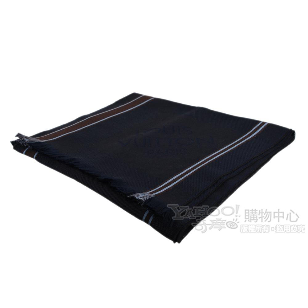 LV M72684 經典繡字造型條紋流蘇圍巾(咖啡)
