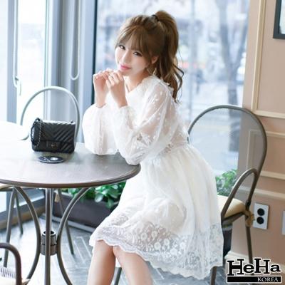 洋裝 後背透膚綁帶縮腰刺繡連身裙 白色-HeHa