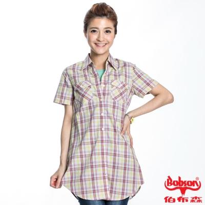 BOBSON 女款格紋短袖長版襯衫(黃格62)