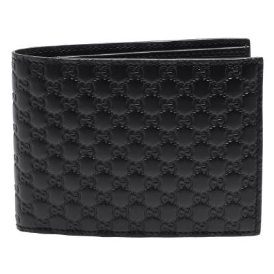 GUCCI 經典Guccissima GG壓紋牛皮對折短夾(黑)