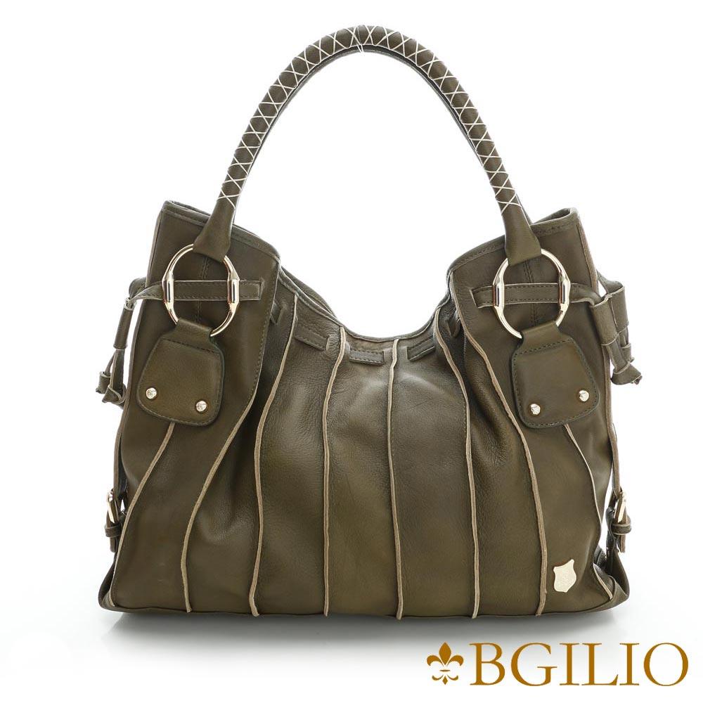 義大利BGilio-義大利羊皮立體線條魅力肩背包-墨綠色775.001-08
