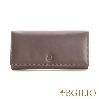 義大利BGilio - NAPPA軟牛皮中性釦式長夾-咖啡色 1607.315-03