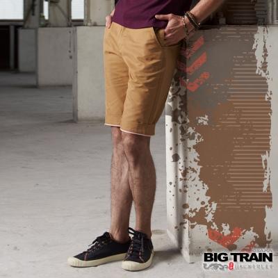 BIG TRAIN BT經典斜紋短褲-男-卡其