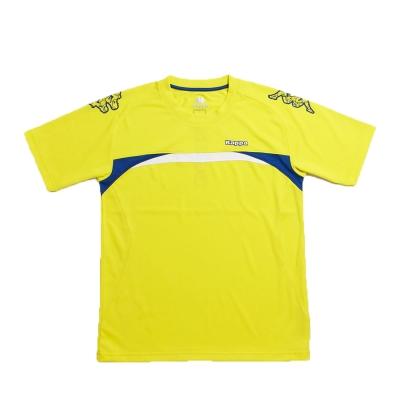 KAPPA義大利型男吸濕排汗速乾彩色圓領衫 清黃 經典藍