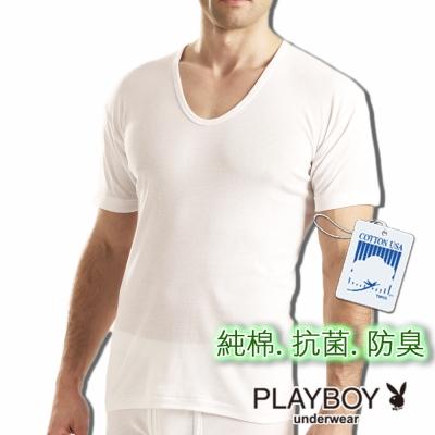 PLAYBOY 台灣製抗菌防臭純棉短袖衫-單件