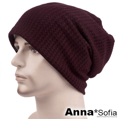 AnnaSofia 立體細網格 針織薄款毛帽(深紅系)