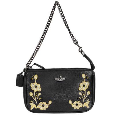 COACH黑色全皮線繡花朵鍊帶手提掛小包