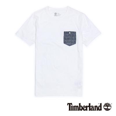 Timberland-男款白色印花口袋短袖T恤