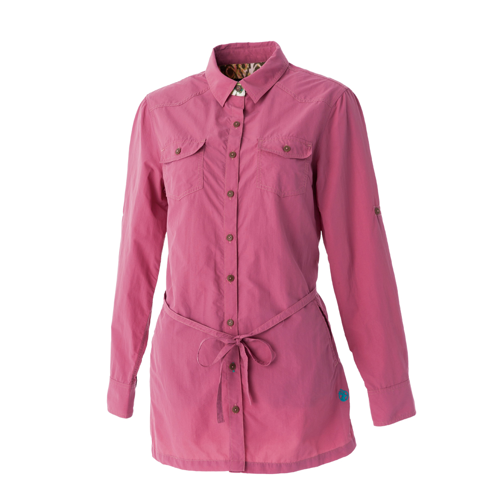 【Wildland 荒野】女抗UV時尚長版襯衫-深粉紅
