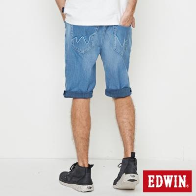 EDWIN 加大碼迦績褲JERSEY印花羅紋短褲-男-石洗藍
