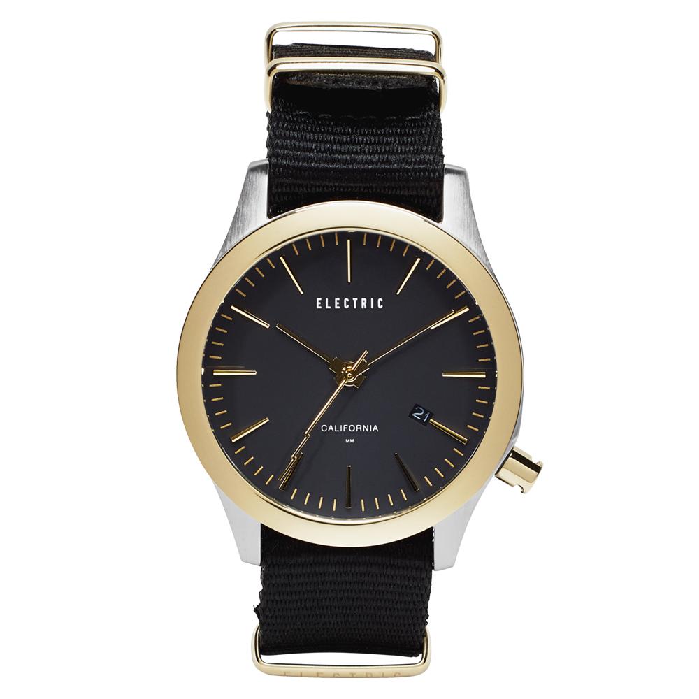 ELECTRIC FW03系列-優雅精品時尚腕錶-金框x黑帆布帶/40mm