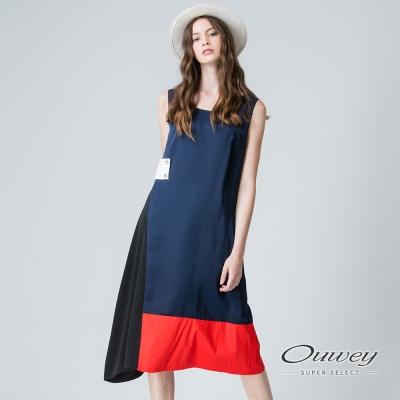 OUWEY歐薇 時尚撞色幾何露肩洋裝(藍)