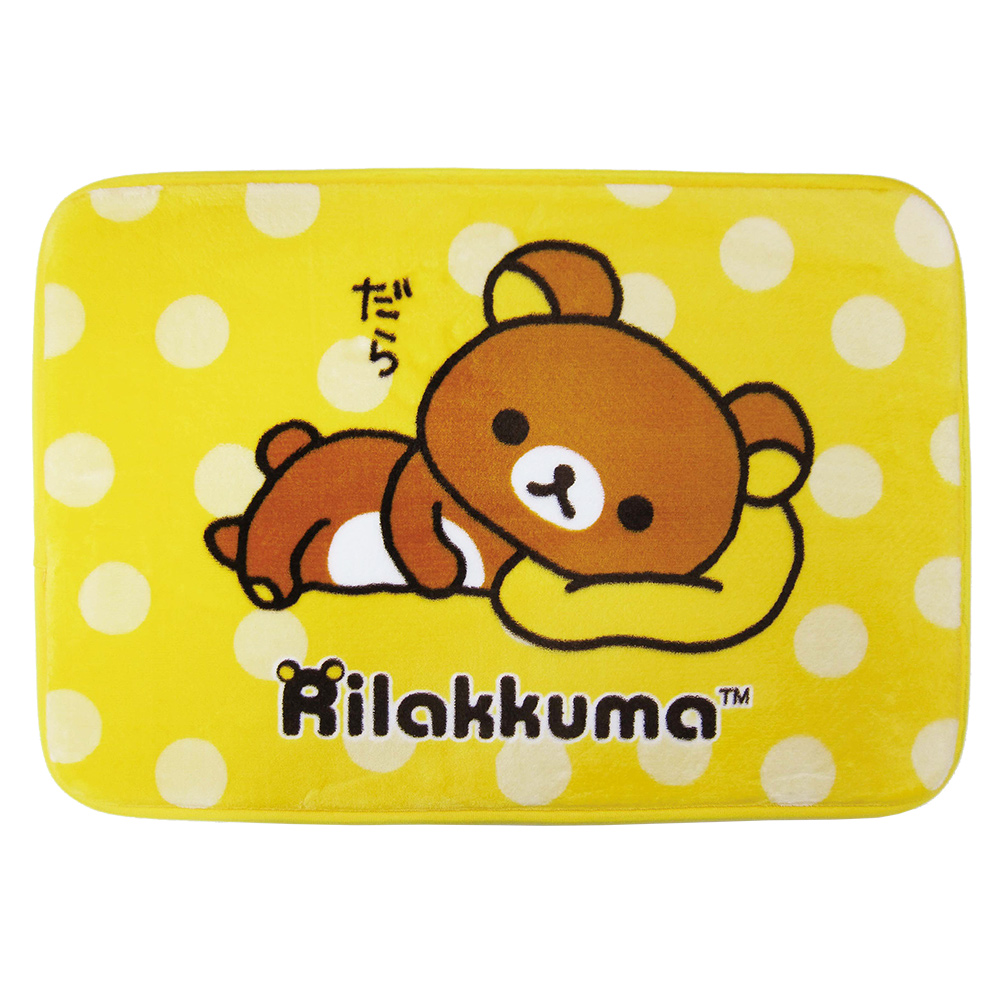 拉拉熊 睡懶覺 法蘭絨厚地墊(黃)
