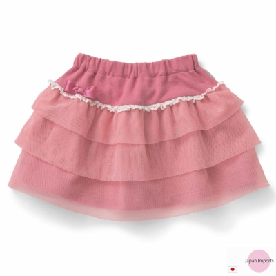 Japan Imports 珊瑚紅腰鬆緊蛋糕三層紗裙