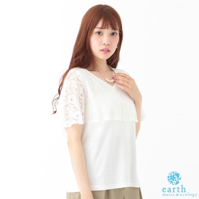 earth-music-ecology-蕾絲透膚荷葉袖拼接上衣