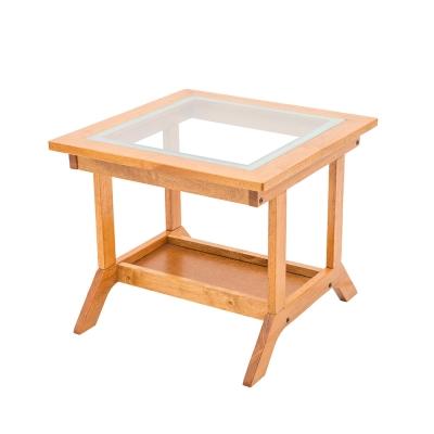 日木家居-Ian伊恩實木玻璃小茶几-寬60x深60x高45cm