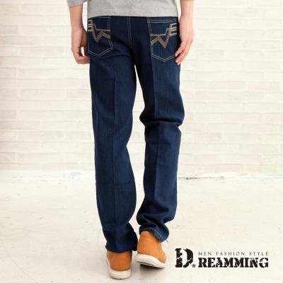 Dreamming 韓系W口袋伸縮中直筒牛仔褲-藍色