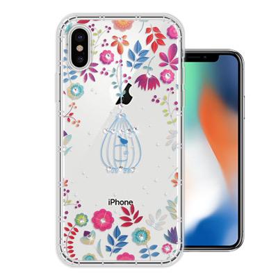 WT iPhone X 奧地利水晶彩繪空壓手機殼(鳥羽花萃)