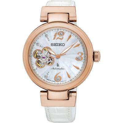 SEIKO精工 時光禮物鏤空限量機械女錶(SSA812J1)-34mm