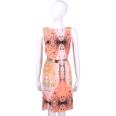CLASS roberto cavalli 粉橘拼色印花設計無袖洋裝(附腰帶)