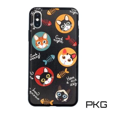 PKG Apple IPhone X 保護殼(時尚彩繪系列)貓魚骨