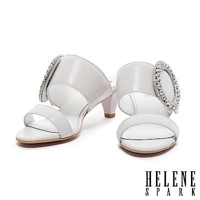 拖鞋 HELENE SPARK 摩登華麗撞色雙字帶全真皮高跟拖鞋-白