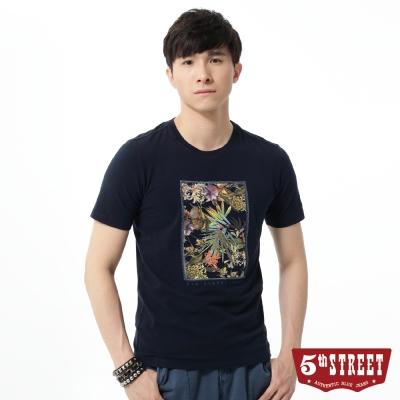 5th STREET T恤 畫框花卉圖短袖T恤-男-丈青