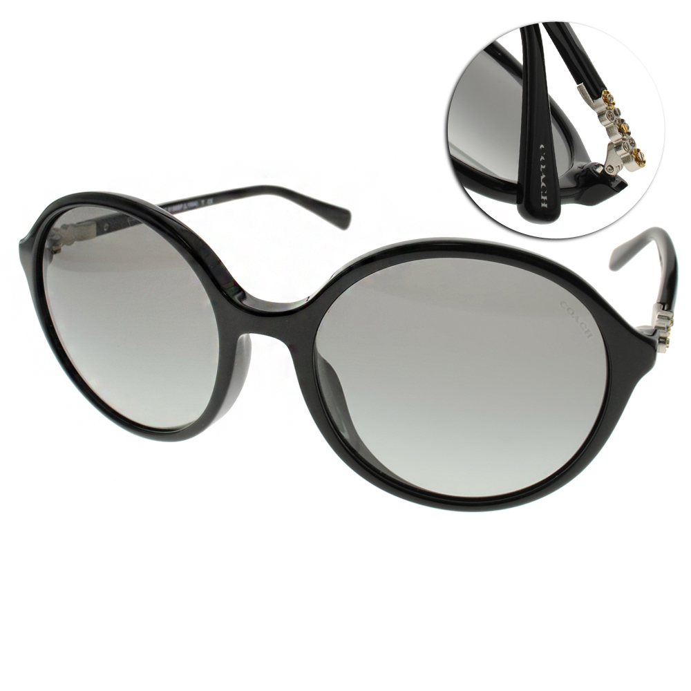 COACH太陽眼鏡 簡約大圓框/黑#COS8188BF 500211