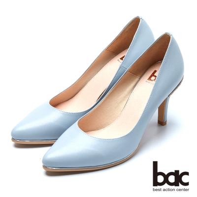 bac時尚品味 魅力迷人水鑽鞋跟高跟鞋-灰藍