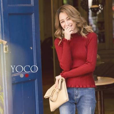 東京著衣-yoco 經典魅力立領荷葉坑條針織上衣-S.M.L(共二色)