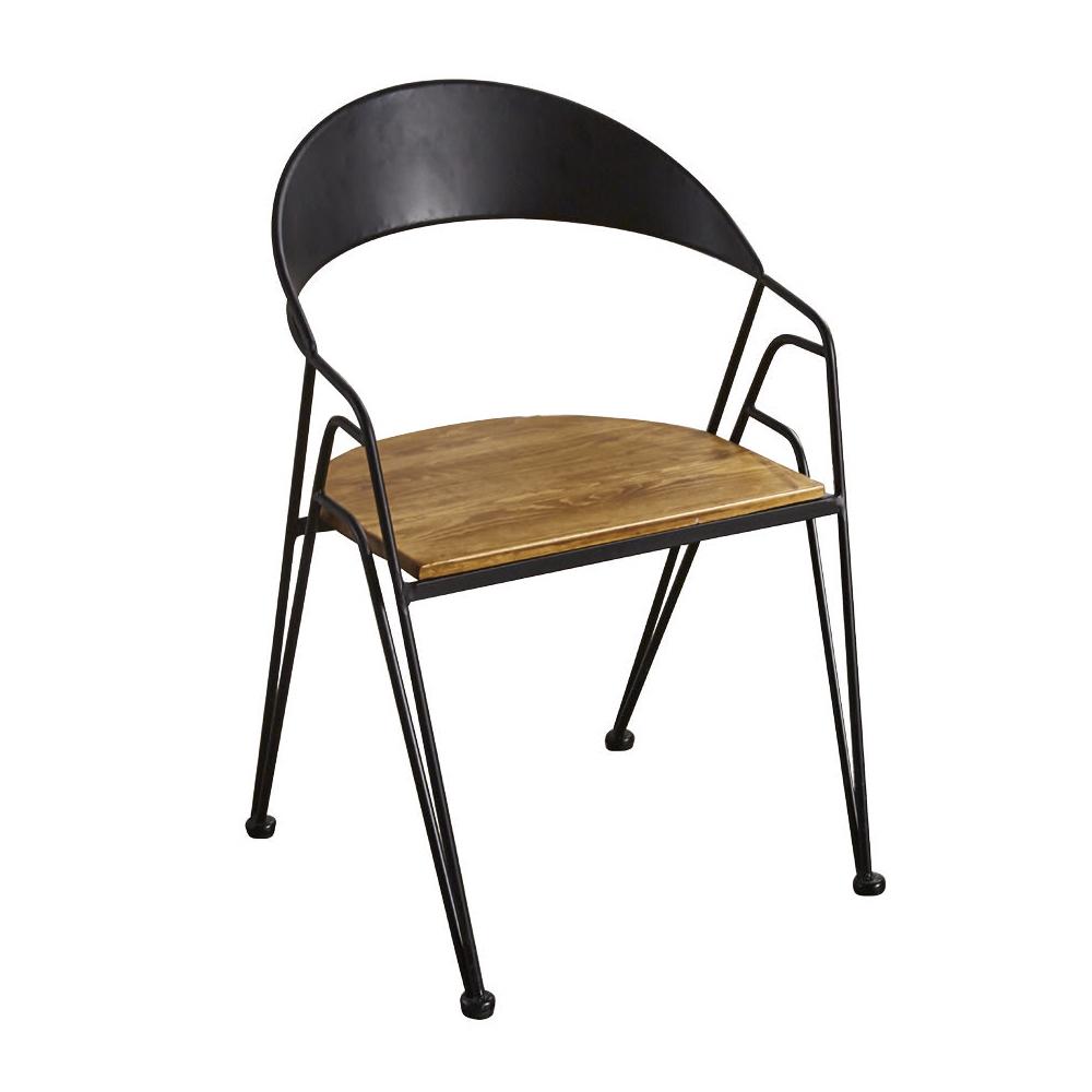 AT HOME-工業風胡桃實木設計鐵藝餐椅(58*52*84cm)泰森