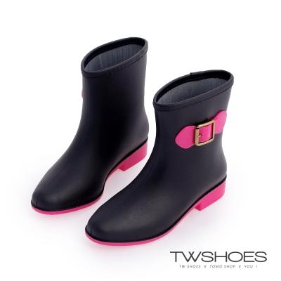 TW Shoes時尚韓版淑女中筒雨靴-黑