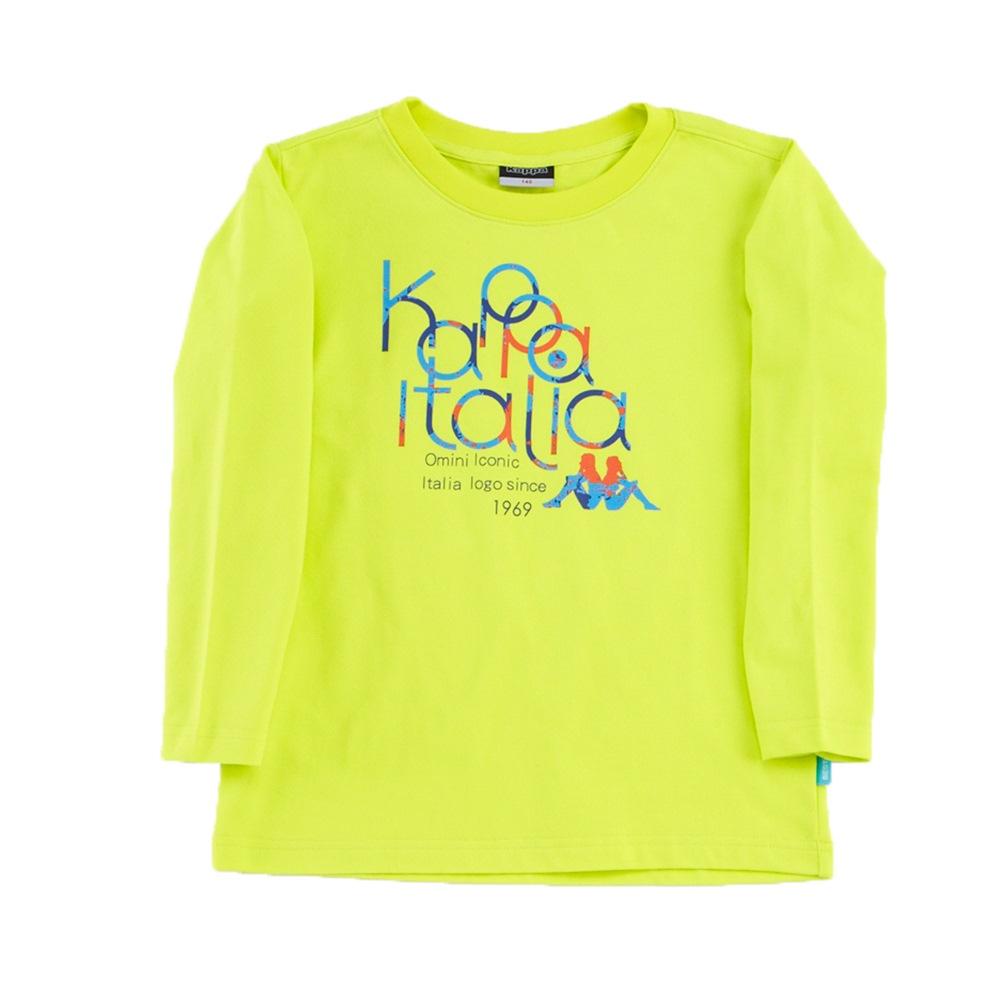 KAPPA義大利小朋友吸濕排汗速乾彩色圓領長袖衫~岩草綠