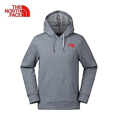 The North Face北面情侶款灰色保暖舒適連帽T恤