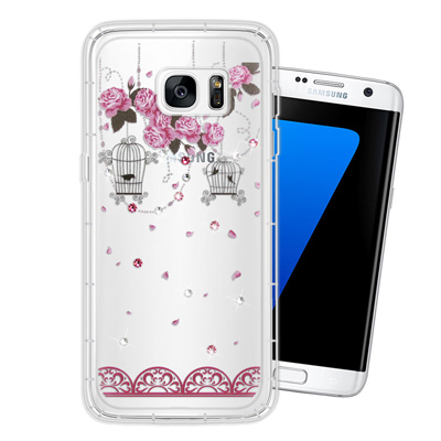 WT Samsung Galaxy S7 edge 奧地利水晶彩繪空壓手機殼(璀...