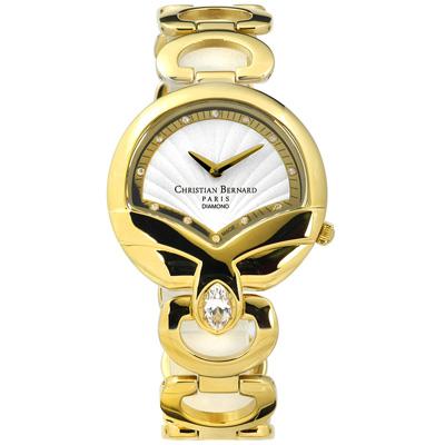CHRISTIAN BERNARD 伯納錶 真鑽瑞士製造不鏽鋼手錶-白x鍍金/32mm