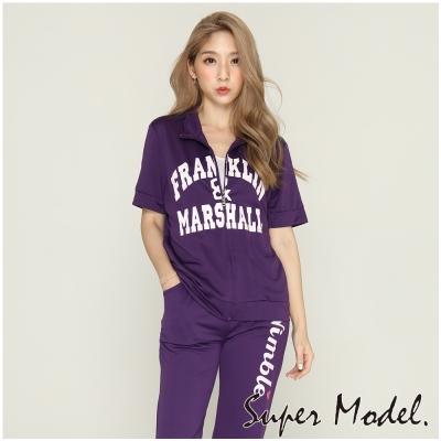 短袖字母運動外套-紫色(F可選)    名模衣櫃