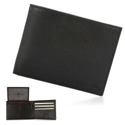 Calvin Klein 經典荔枝紋皮革LOGO短夾-黑色