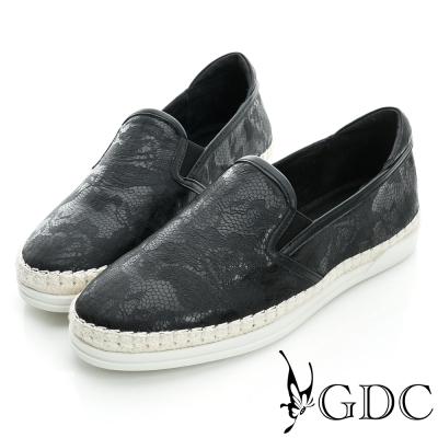GDC舒適-奢華蛇紋麻邊真皮懶人休閒鞋-黑色