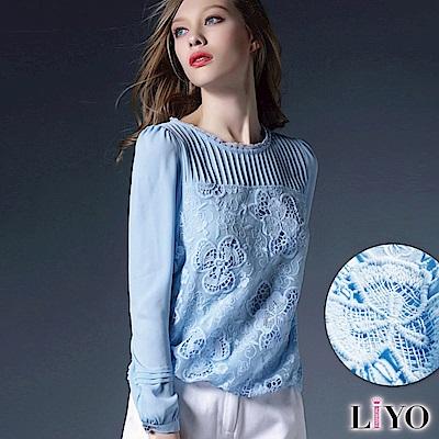上衣蕾絲拼接鏤空雕花優雅雪紡上衣LIYO理優S-2XL