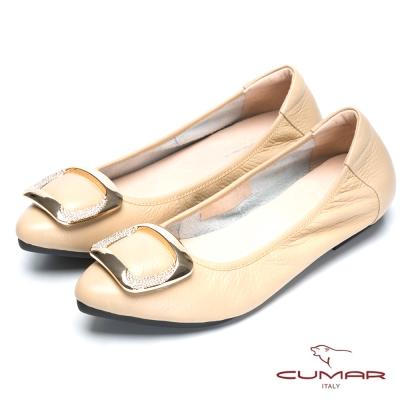 CUMAR舒適真皮 水鑽金屬裝飾平底包鞋-杏色