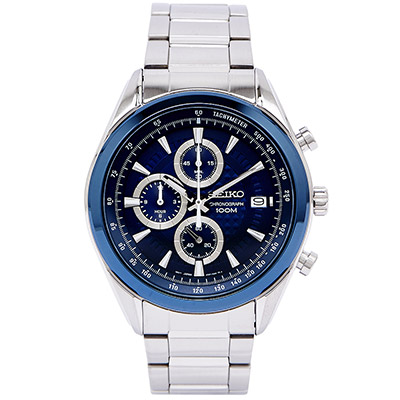 SEIKO 精工冒險概念三眼計時腕錶(SSB177P1)-藍/45mm