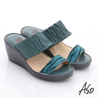 A.S.O 3E寬楦 真皮一字帶楔型涼拖鞋 藍