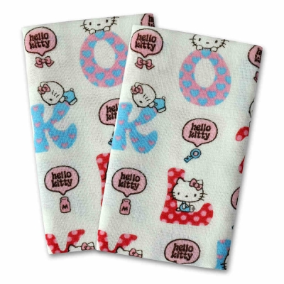 SANRIO三麗鷗授權Hello Kitty凱蒂貓英文字紗布毛巾(3入)